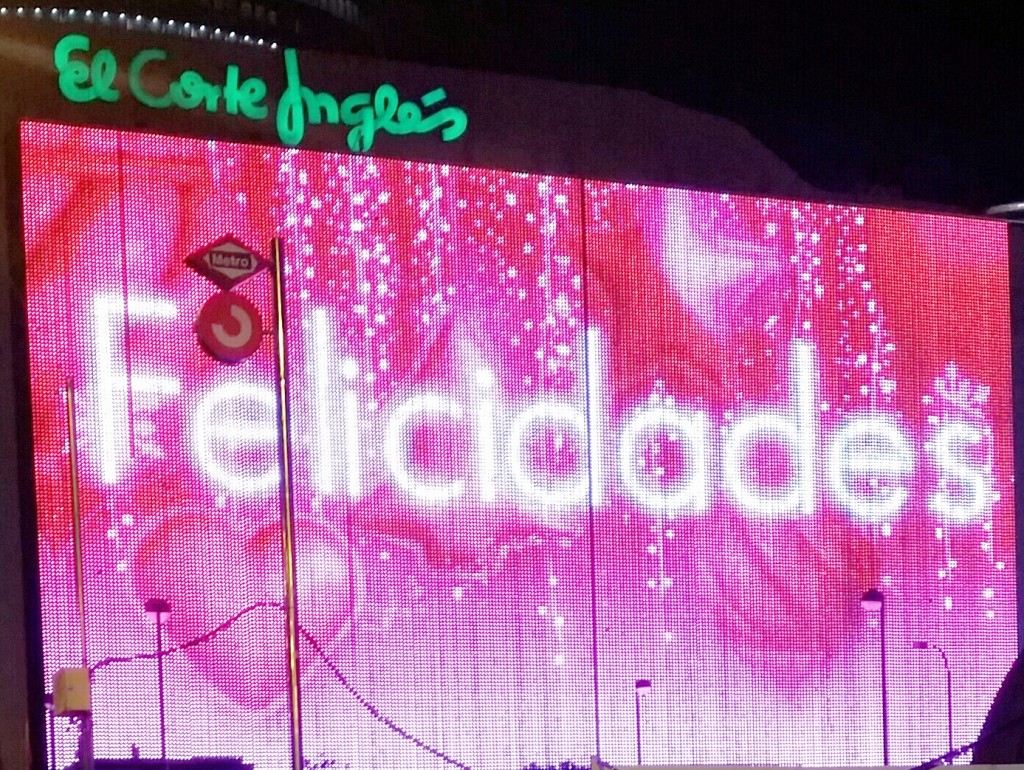 Gargantuan neon sign display at El Corte Ingles, Nuevos Ministerios