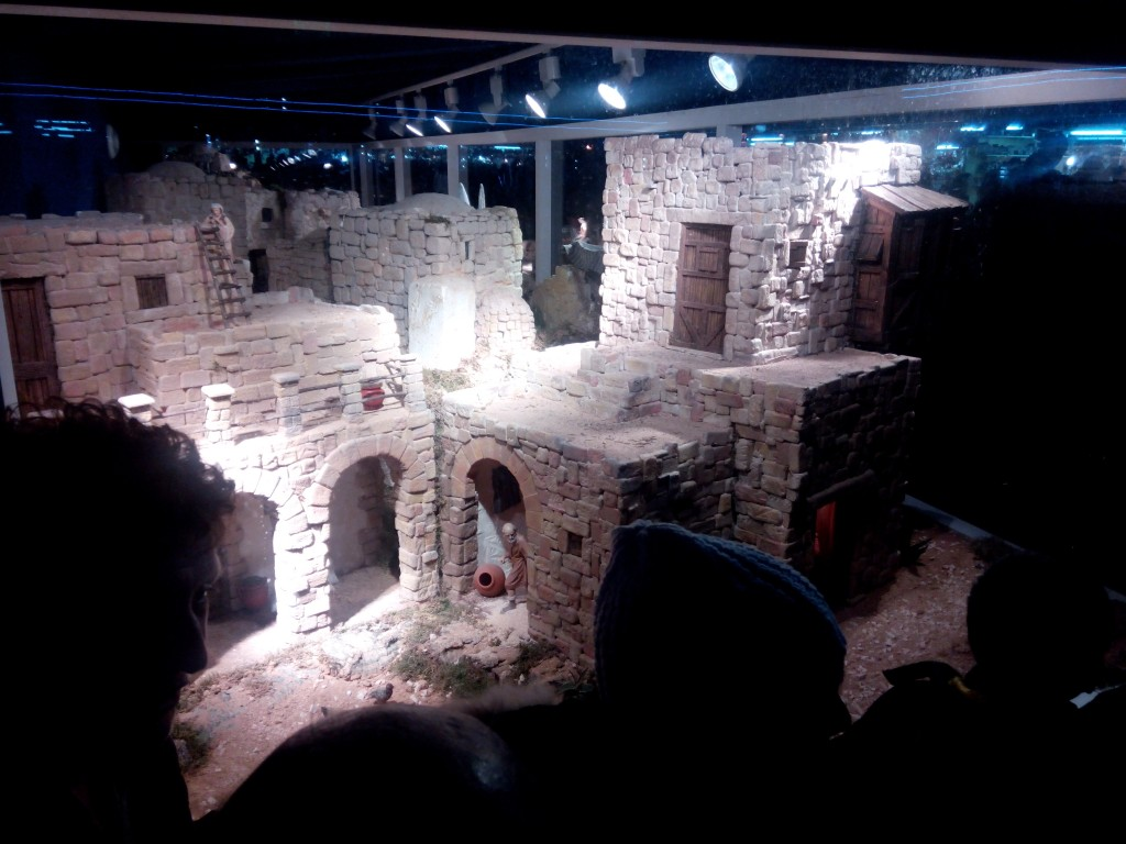 Impressive miniature stone brick dwellings typical of the time of Christ's birth. Madrid en Navidad, Plaza Mayor