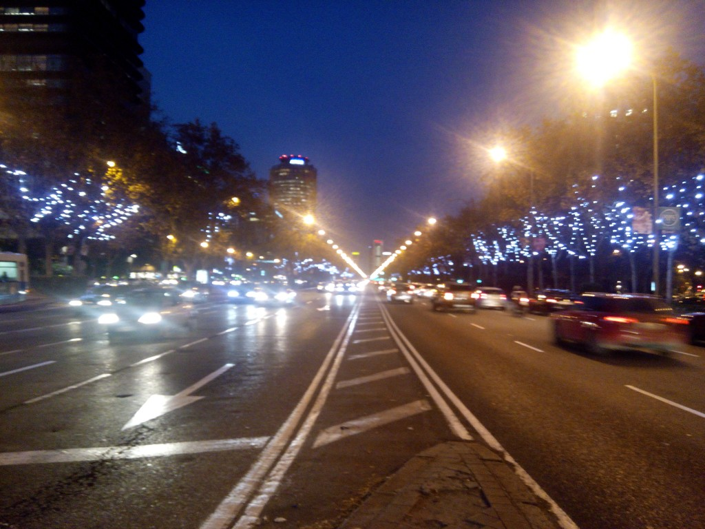 This scene at Paseo de la Castellano reminds of Champs Elysees during Christmastime