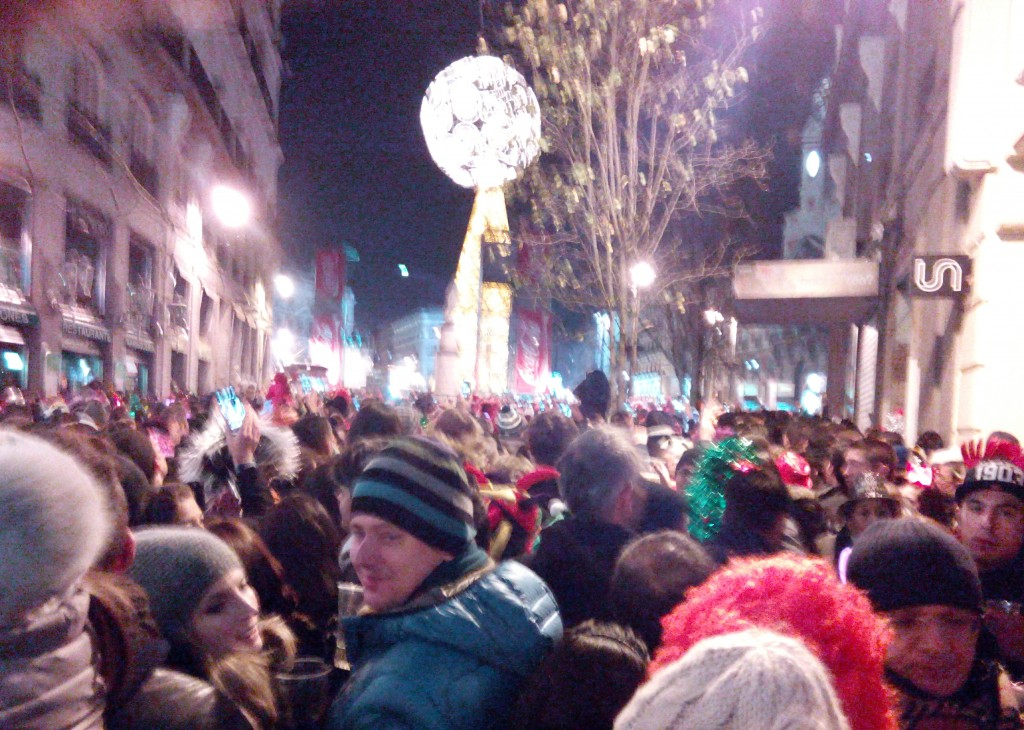 This is as near as we can go to Puerta del Sol. Still we had a nice view of the countdown celebration at Calle de Arenal
