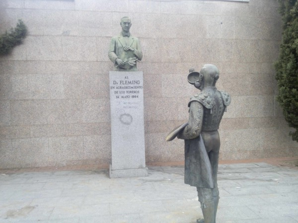To the right-side area of the site are a few scuptures. his one is a Matador statue seemingly honoring the plaque of ...a