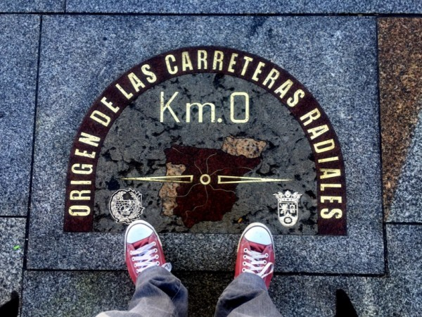 The Kilometro Cero at sidewalk of Real Casa de Correos, Puerta del Sol, Madrid
